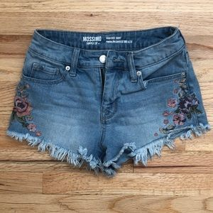 Floral Embroidered High Rise Shorts